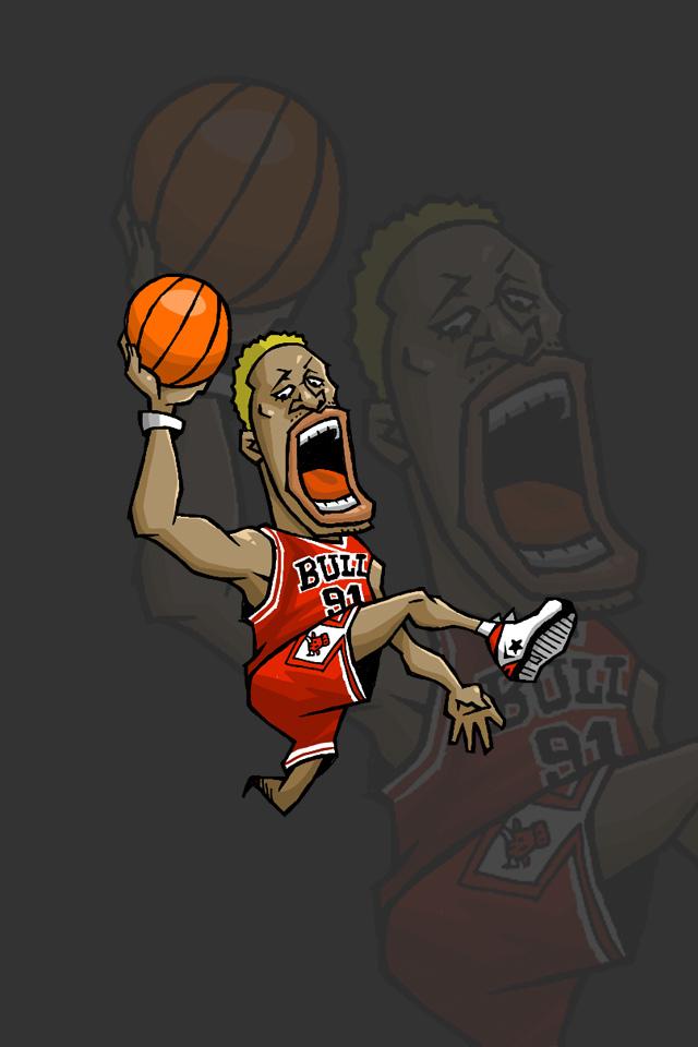 Nbaイラスト バスケイラスト アンストッパブル Nba Illustration Nba Caricature Unstoppable Dennis Rodman デニス ロッドマン